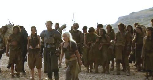 Daenerys with Jorah and Dothraki