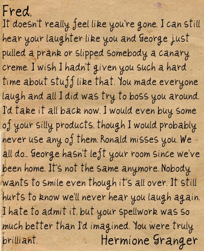 Hermione's Letter to Fred