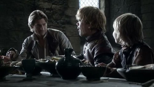 Jaime and Tyrion Lannister with Tommen Baratheon