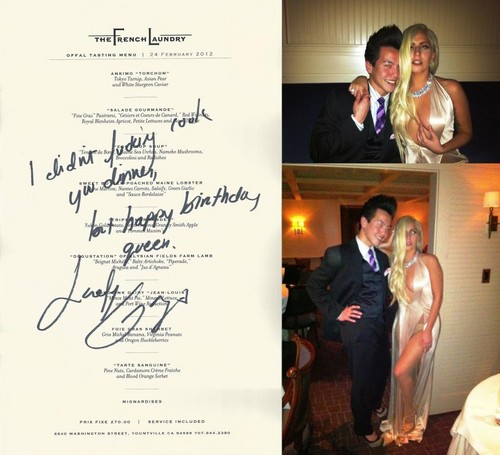 Lady Gaga at The French Laundry in Napa Valley with a Фан