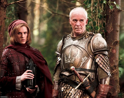House Lannister wallpaper containing a breastplate titled Lancel Lannister and Barristan Selmy