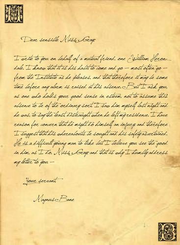 Magnus' letter to Tessa
