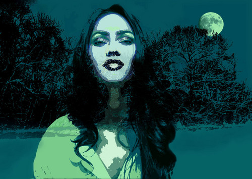 Megan raposa in snowy moonlight.