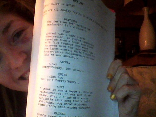 Page of script for deleted Kurt-Quinn-Rachel scene in New York