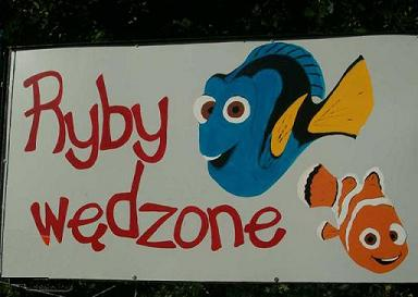 Finding Nemo wolpeyper probably with a no parking zone and a sign entitled Poland<3