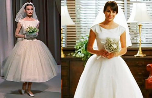 Rachel's wedding dress based on Audrey Hepburn's