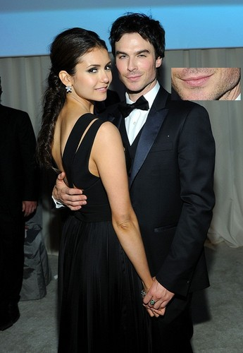 Ian Somerhalder and Nina Dobrev wallpaper titled Stealing kisses again Nian?