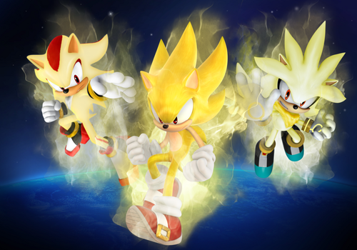 Super Sonic,Shadow and Silver the three legendary hedgehogs