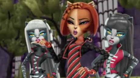 Monster High karatasi la kupamba ukuta called Toralei with Purrsephone & Meowlody 3D