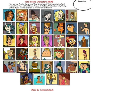 Total Drama Meme, Favourite Character- Least Favourite