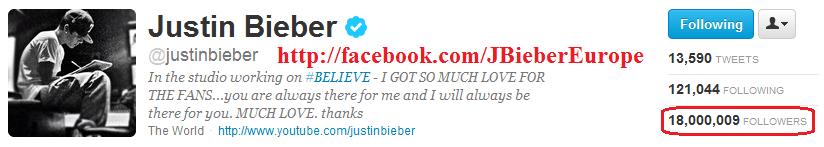 #18Million Beliebers On Twitter <3