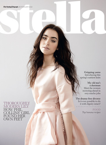 "Lily Collins wallpaper possibly containing a trench coat and a surcoat titled ""Stella Magazine"" Photoshoot"