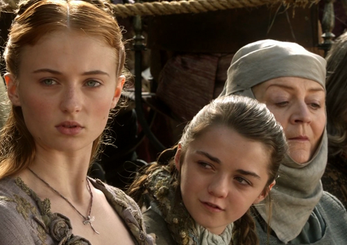 Arya and Sansa with Mordane