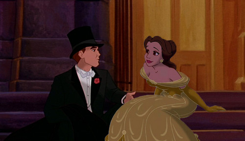 disney crossover پیپر وال probably containing a business suit and a bridesmaid entitled Belle and Dimitri