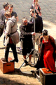 Bradley James & Katie McGrath on the Merlin set at Pierrefonds
