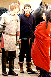 Bradley James & Katie McGrath on the Merlin set at Pierrefonds