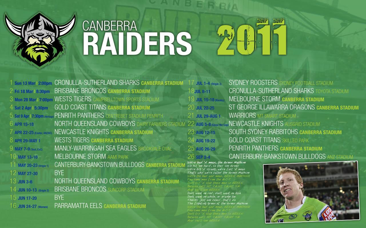 Canberra Raiders Draw 2011
