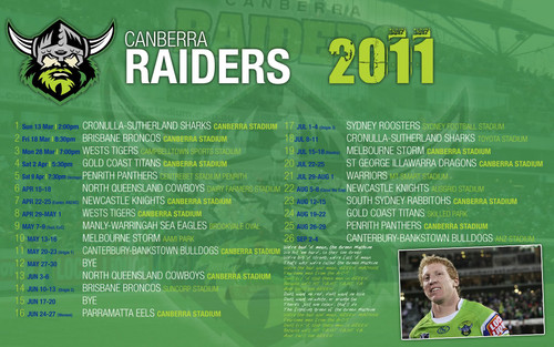 Canberra Raiders Draw 2011