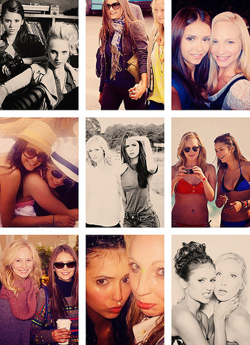 Nina Dobrev and Candice Accola wallpaper probably containing a neonate, a newspaper, and anime called Candice and Nina