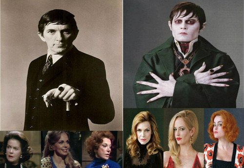 Tim Burton's Dark Shadows wallpaper containing a well dressed person titled Dark Shadows, Then and Now
