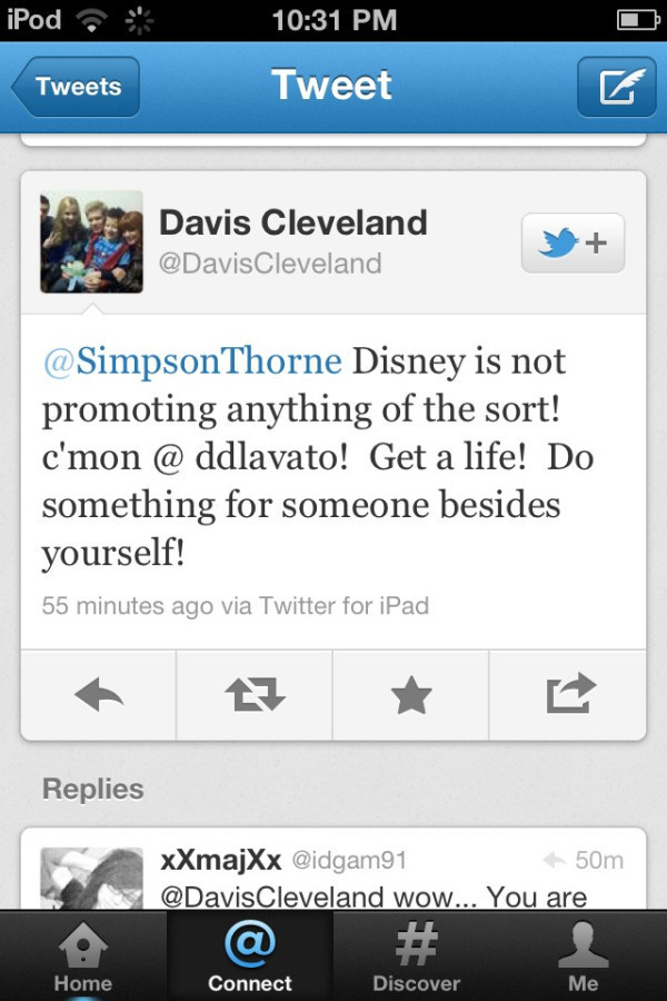Davis Cleveland hating on Demi Lovato >:(