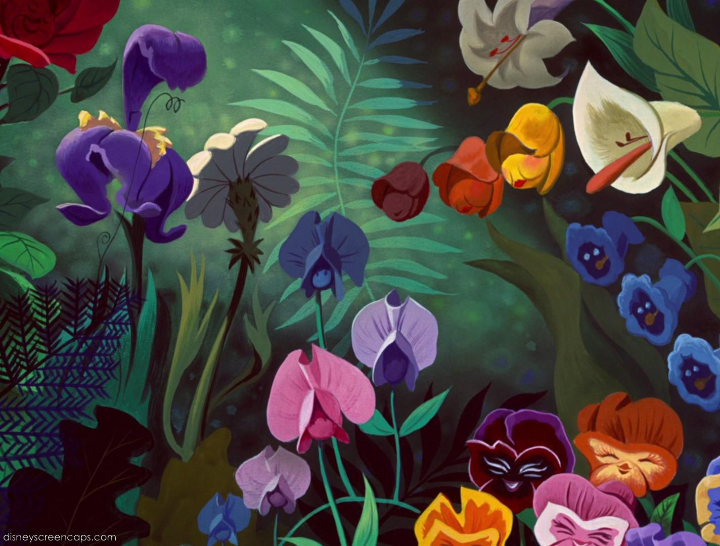 Alice in Wonderland Mary Blair inspired flowers Ink me