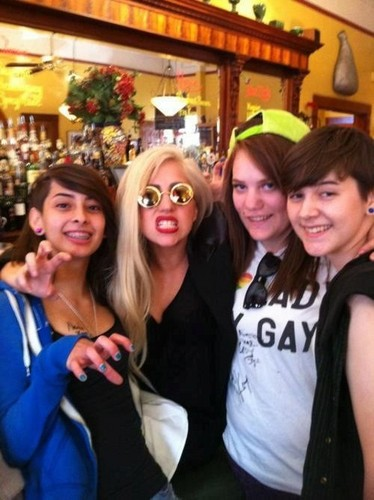 Gaga with fans in Sonoma County