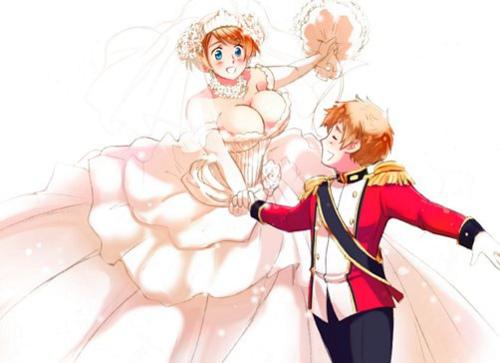 Hetalia Couples! karatasi la kupamba ukuta possibly containing anime titled Latvia and Ukraine Wedding