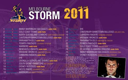 Melbourne Storm Draw 2011