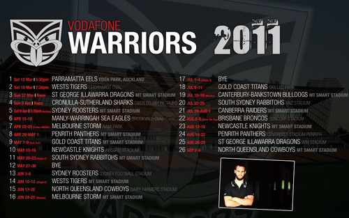 New Zealand Warriors Draw 2011