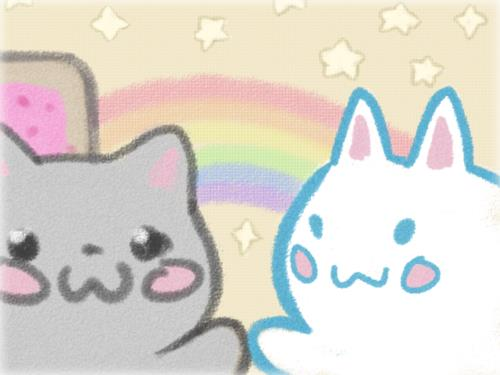 Nyan Cat Hintergrund called Nyan Cat high-five~<3