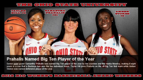 OSU 2012 WOMEN'S B1G pallacanestro, basket AWARD WINNERS