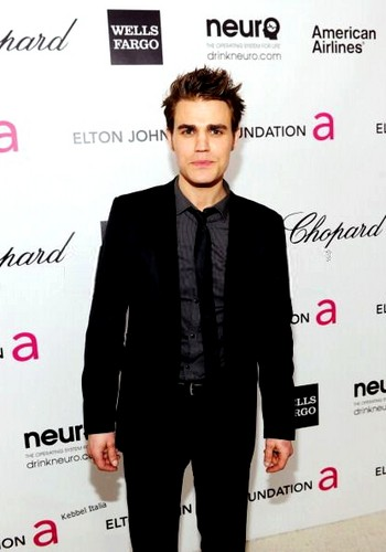 Paul Wesley wallpaper containing a business suit, a suit, and a well dressed person entitled Paul Wesley at Elton John Aids Foundation Party 2012