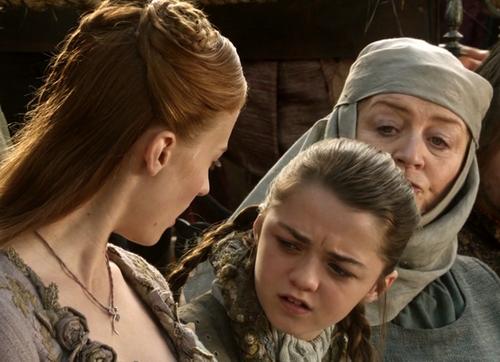 Sansa and Arya with Mordane