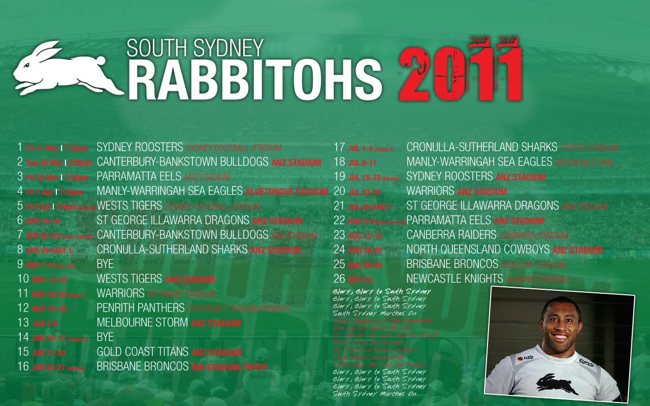Souths Sydney Rabbitohs Draw 2011