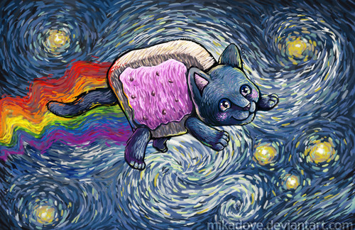 Nyan Cat wallpaper probably with a red cabbage and a fleur de lis titled Starry Nyan - by Vincat Nyan Gogh