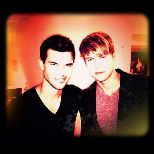 "Taylor with Chord Overstreet at the ""Night Before Party"""