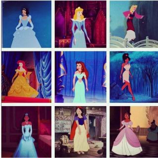 The 디즈니 Princesses in Different Dresses