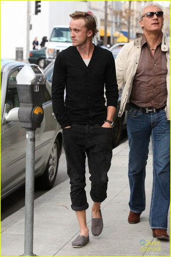 Tom Felton wallpaper containing a business suit called Tom Felton & Jade Olivia: Beverly Hills Lunch