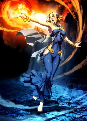 Griechische Mythologie Hintergrund possibly with a feuer and Anime called medea