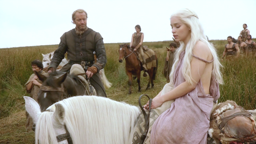 Daenerys and Jorah with Dothraki
