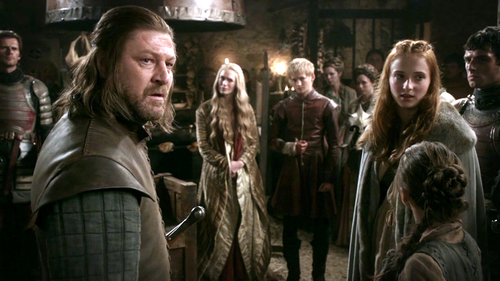 Eddard, Sansa and Arya with Cersei and Joffrey