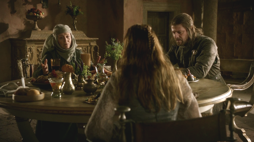 Eddard with Sansa and Mordane