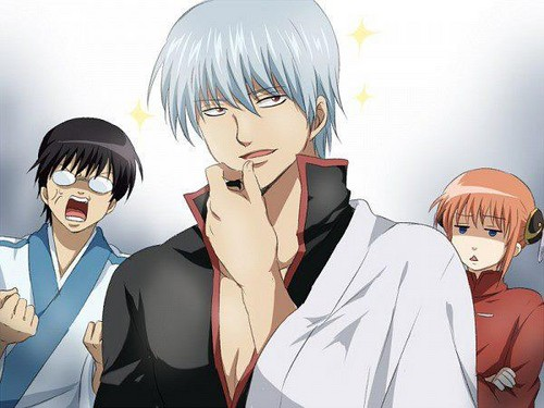 Gintoki w/ straight hair O_o