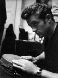 JD playing the bongos