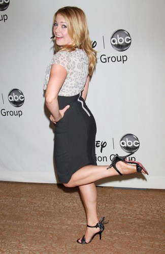 Melissa Joan Hart Hintergrund possibly containing bare legs, hosiery, and a cocktail dress titled Melissa Joan Hart