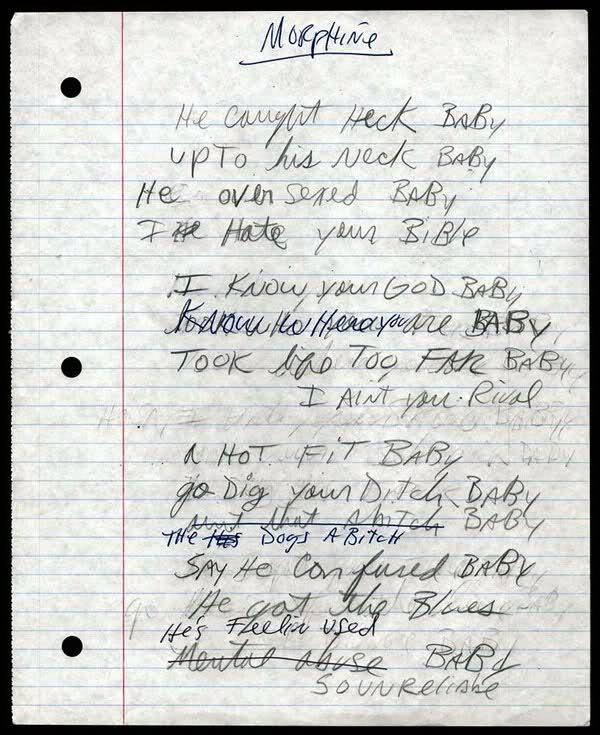 Morphine handwrite lyrics
