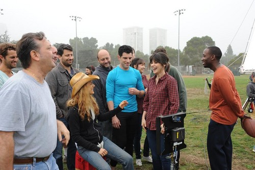 New Girl fond d'écran possibly with a street, a sign, and a horse wrangler entitled New Girl - Behind the Scenes