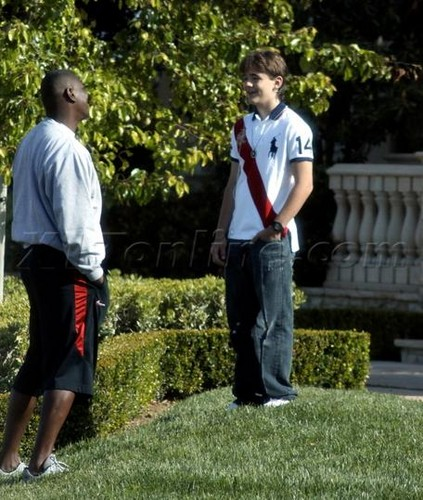 Prince Jackson out the front from his Grandma Katherine Jackson's mansion in Calabasas