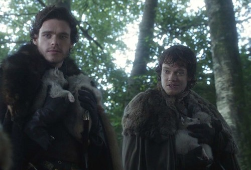 Robb and Theon with direwolfs